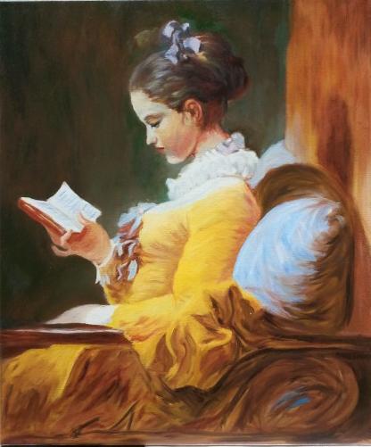La Liseuse / Fragonard - Huile sur toile - 55 x 46 (F10) - copie 2012