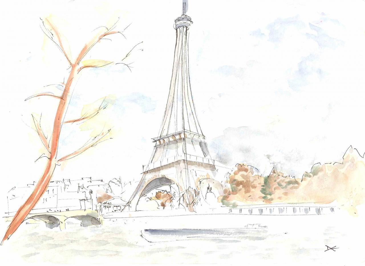 La Tour Eiffel - Aquarelle - A4