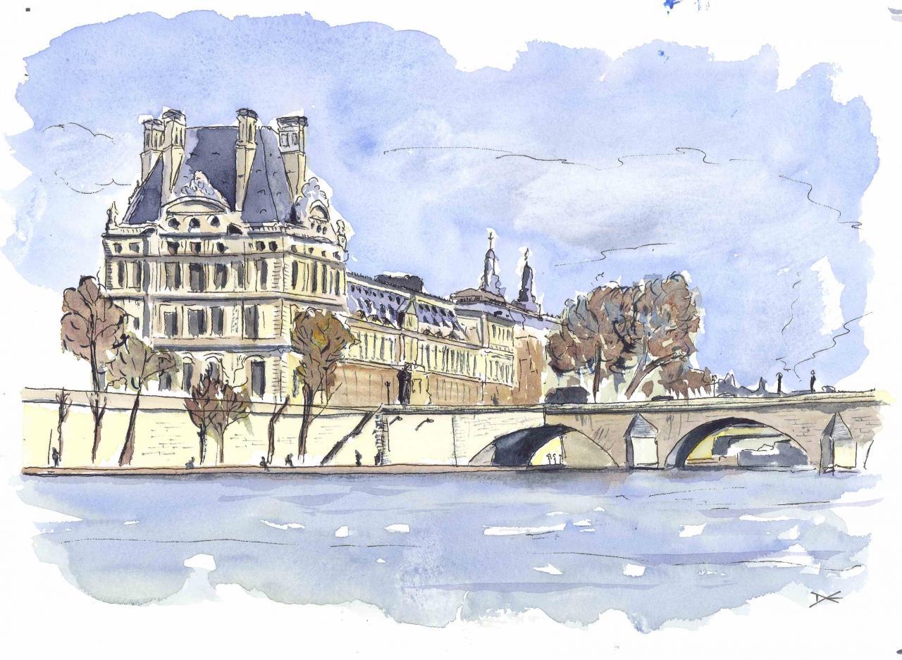 Le Louvre - Pavillon de Flore - Aquarelle - A4