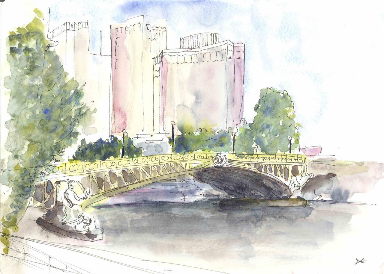 Le Pont Mirabeau - Aquarelle - A4