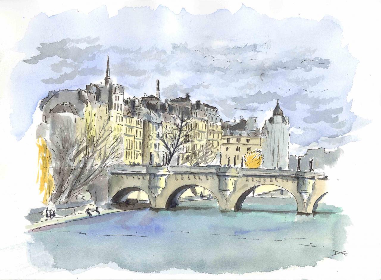 Le Pont Neuf rive gauche - Aquarelle - A4