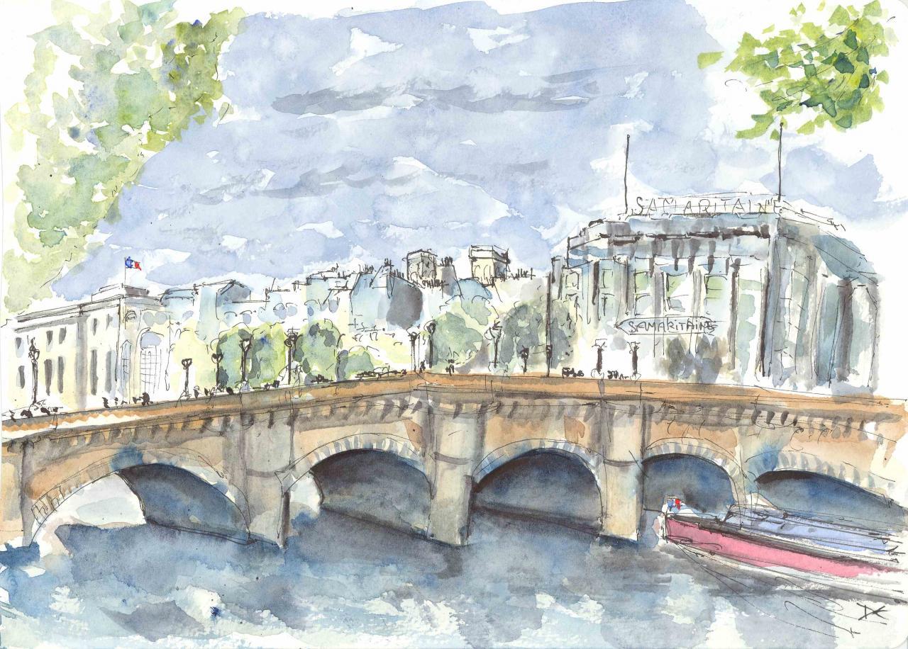 Le Pont Neuf - Samaritaine - Aquarelle - A4