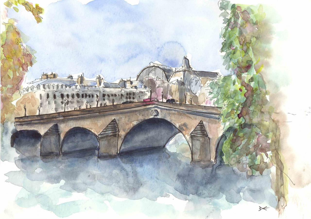 Le Pont Royal - Aquarelle - A4
