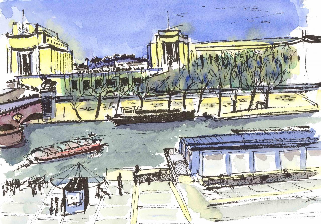 Le Trocadéro - Aquarelle - A4