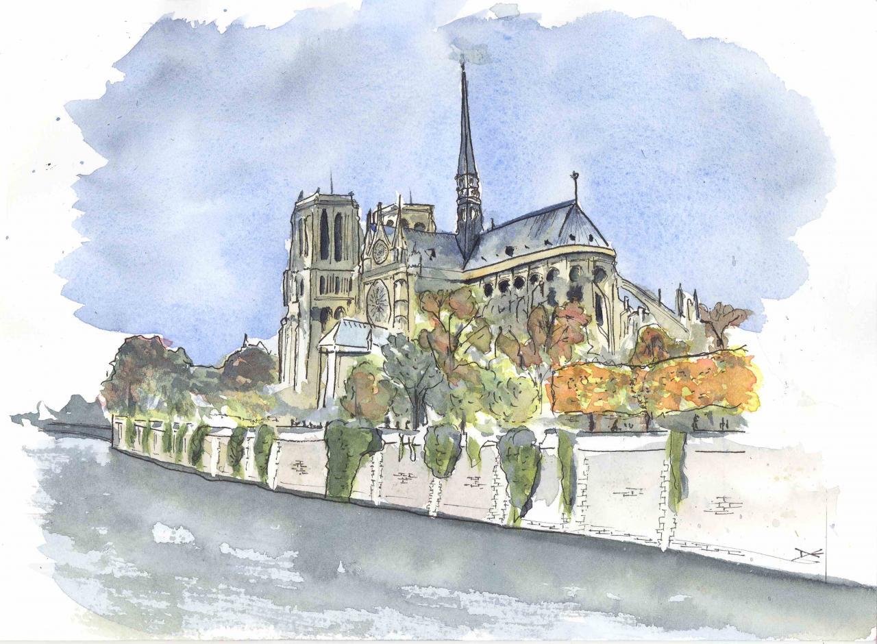 Notre Dame de Paris - Aquarelle - A4
